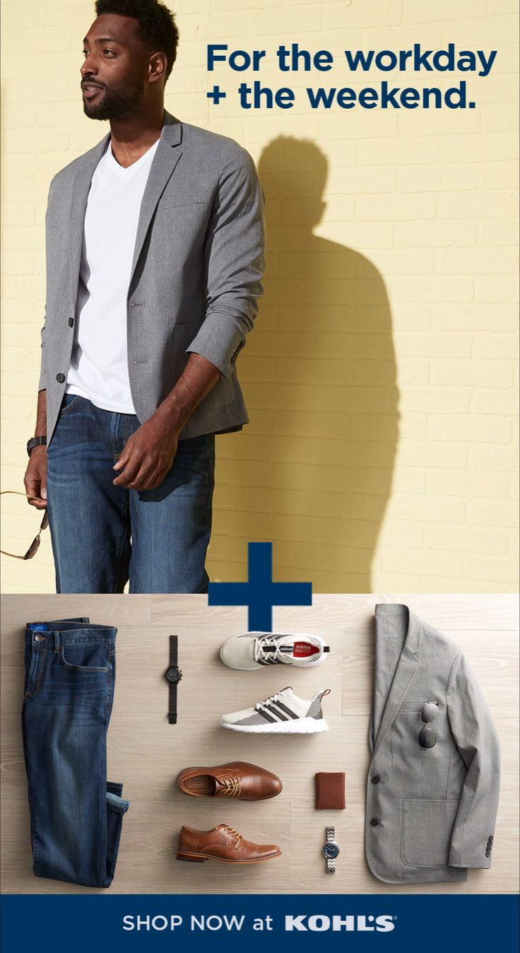 Spring's a busy time of year so we know how important it is to find easy style that works overtime. Find looks that you can easily wear to work + switch up for the weekend! Try jeans + a dress shirt and blazer for work. Just swap out a T-shirt for weekends. Trade dress shoes for casual sneakers and you've got your off-the-clock style. Shop Kohl's and Kohls.com. #mensstyle #springstyle