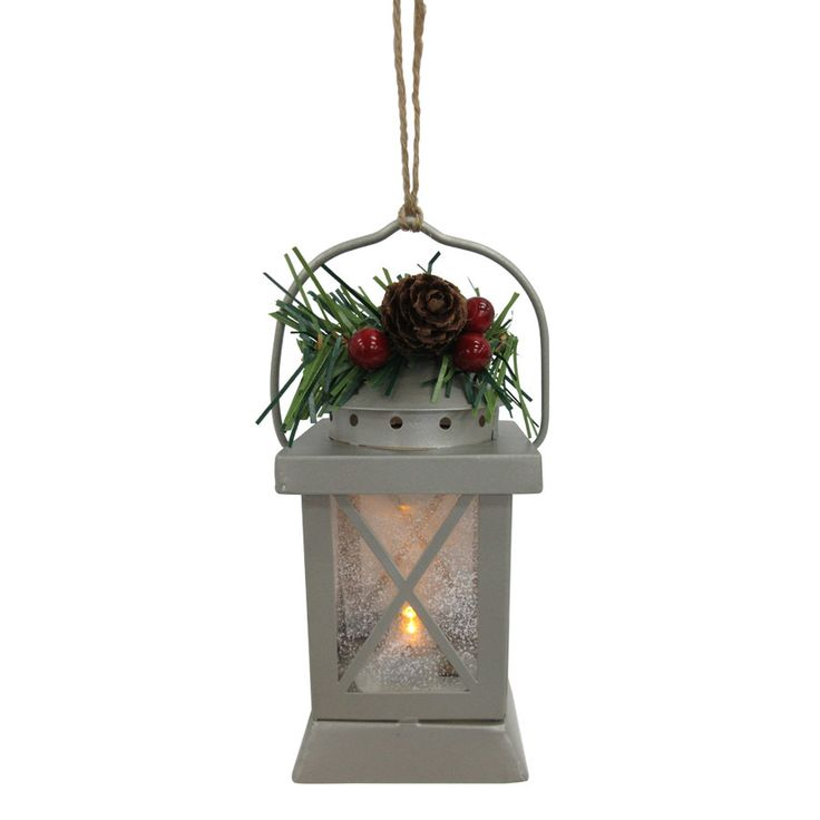 Holiday Living Silver Lantern Ornament with White LED Lights