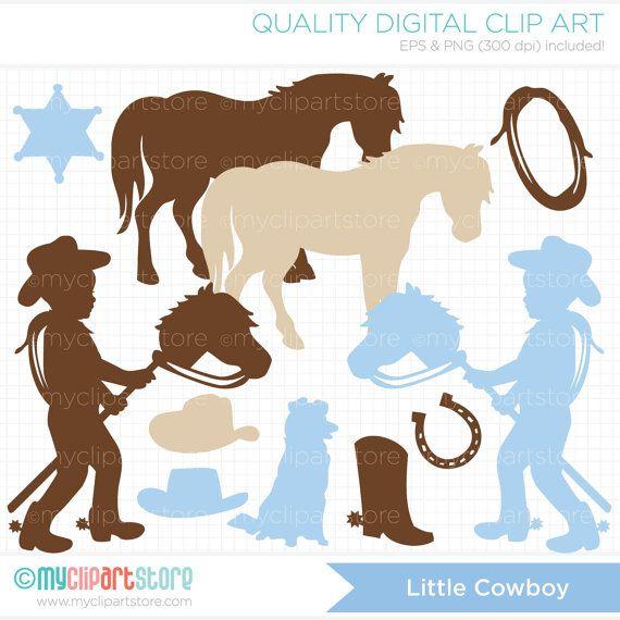 Little Cowboy Silhouette Clip Art / Digital Clipart - Instant Download