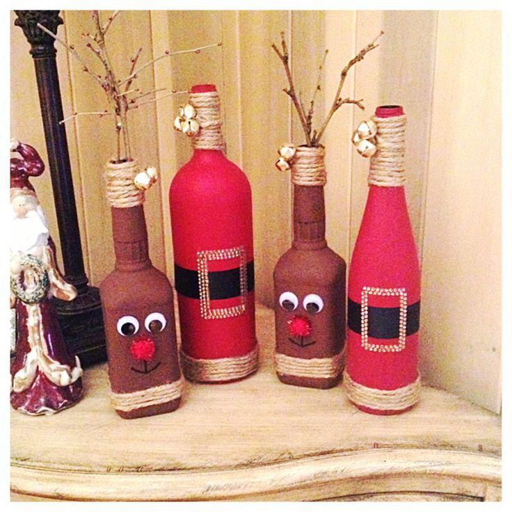 Diy christmas decor reindeer from old whiskey bottles and for Diy wine bottle crafts pinterest