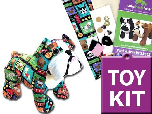 I'm having fun listing some cute BULLDOG toy-making KITS, Don't you love this doggy fabric????