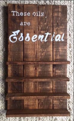 "Store your favorite oils on this pallet shelf. Customized upon request. Approximately 15.5"" x 21""."