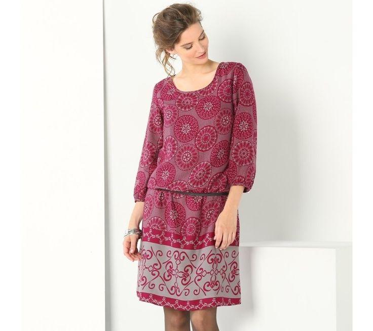Šaty se dvoubarevným potiskem, 3/4rukávy | vyprodej-slevy.cz #vyprodejslevy #vyprodejslecycz #vyprodejslevy_cz #saty