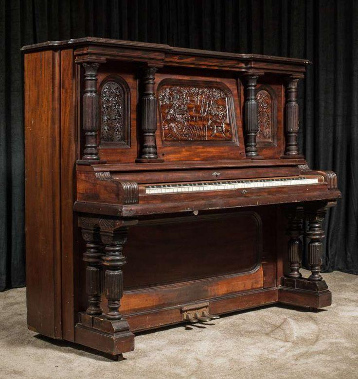 "Strich & Zeidler ""Roman"" Model Upright Piano – Antique Piano Shop"