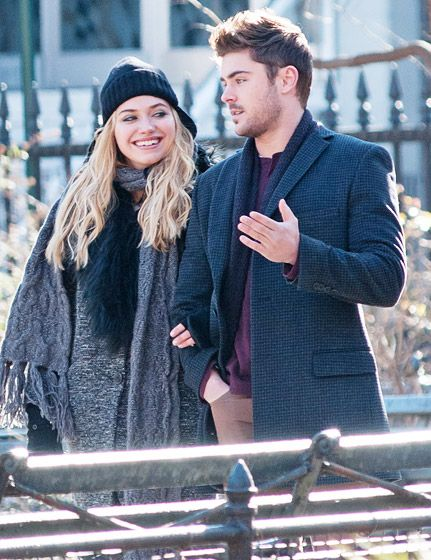 """Zac Efron and Imogen Poots filmed a park scene for their upcoming romantic comedy """"Are We Officially Dating?"""" on Jan. 18 in New York City."""