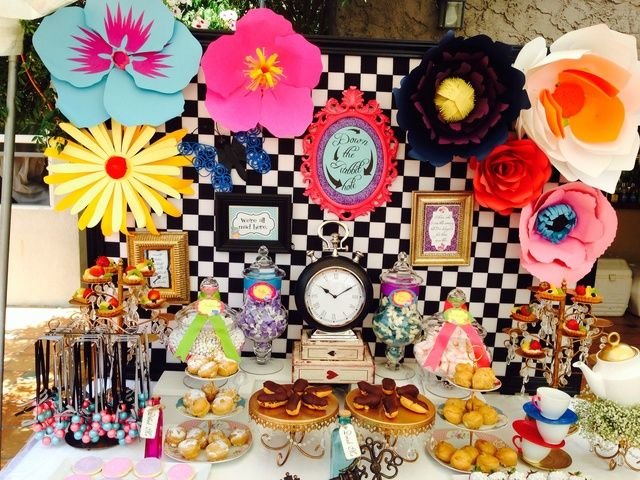 Awesome backdrop and dessert table at an Alice in Wonderland girl birthday party! See more party ideas at CatchMyParty.com!