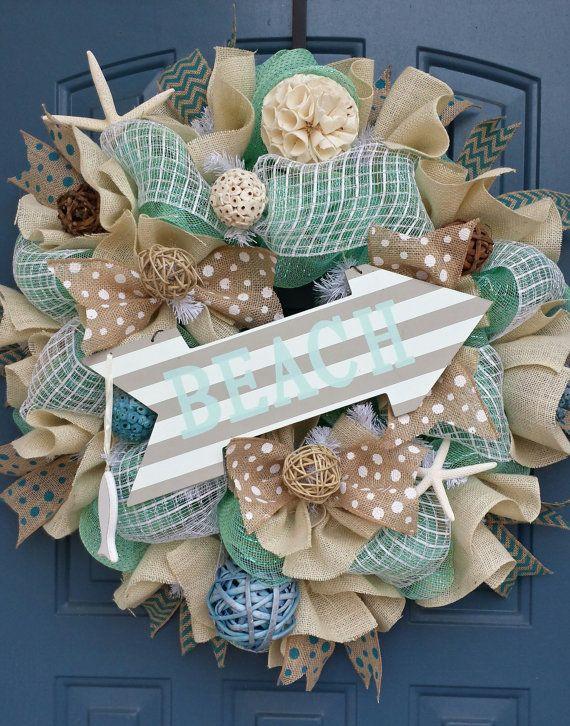 Beach/Summer deco mesh wreath by WonderfulWreathsKim on Etsy, $95.00
