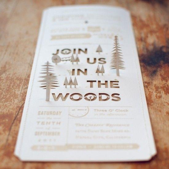a 3d invitation!: Woods Wedding, Idea, Pop Up, Popup, Woodland Wedding Invitations, Laser Cut, Lasercut, Woodsy Wedding, Cut Outs