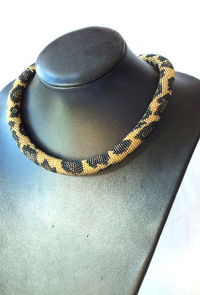 SALE Bead crochet rope necklace with leopard by RebekeJewelryShop