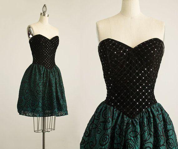 90 s vintage Jessica McClintock Gunne Sax velours noir paillette Bustier sans bretelles Mini robe / taille s