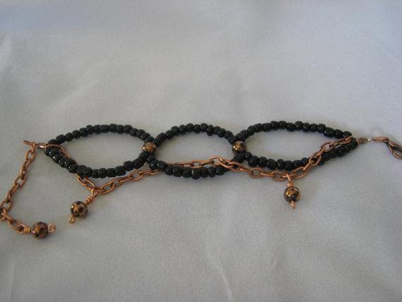 Black Beaded Copper Woven Bracelet by ZaZing on Etsy, $20.00