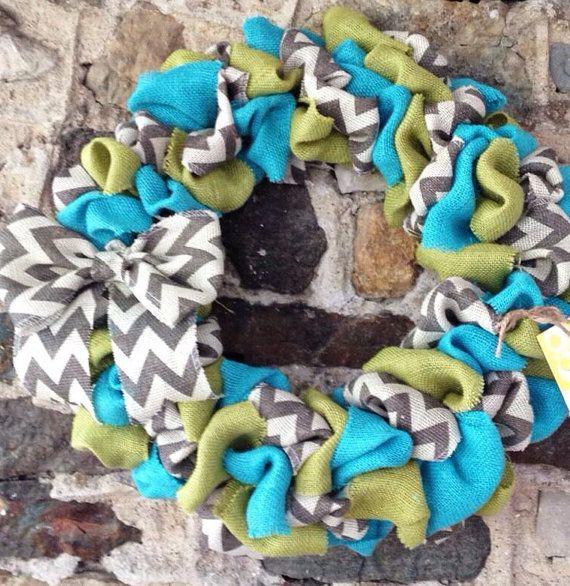 Summer Burlap Wreath Aqua Green and by YellowBirdieBoutique, $41.00