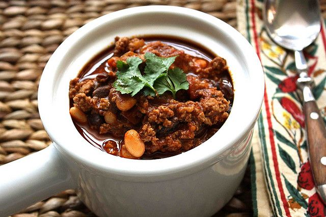 Smoky Turkey Chili Recipe with Chipotle Pepper, & Black & White Beans by CookinCanuck, via Flickr