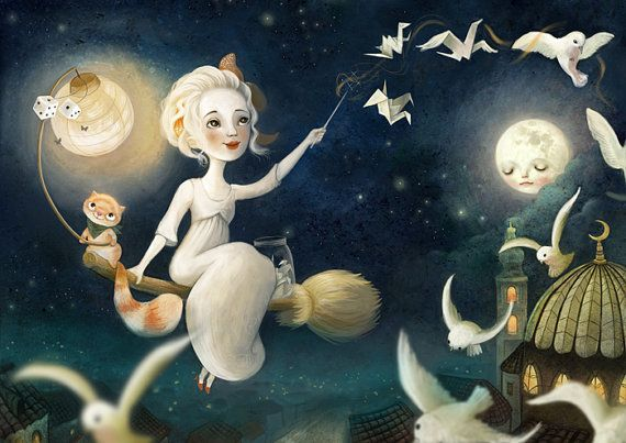 The Merriest Witch 8X10 - witch art witch's cat art flying broomstick print children's room,  fantasy art  night landscape full moon
