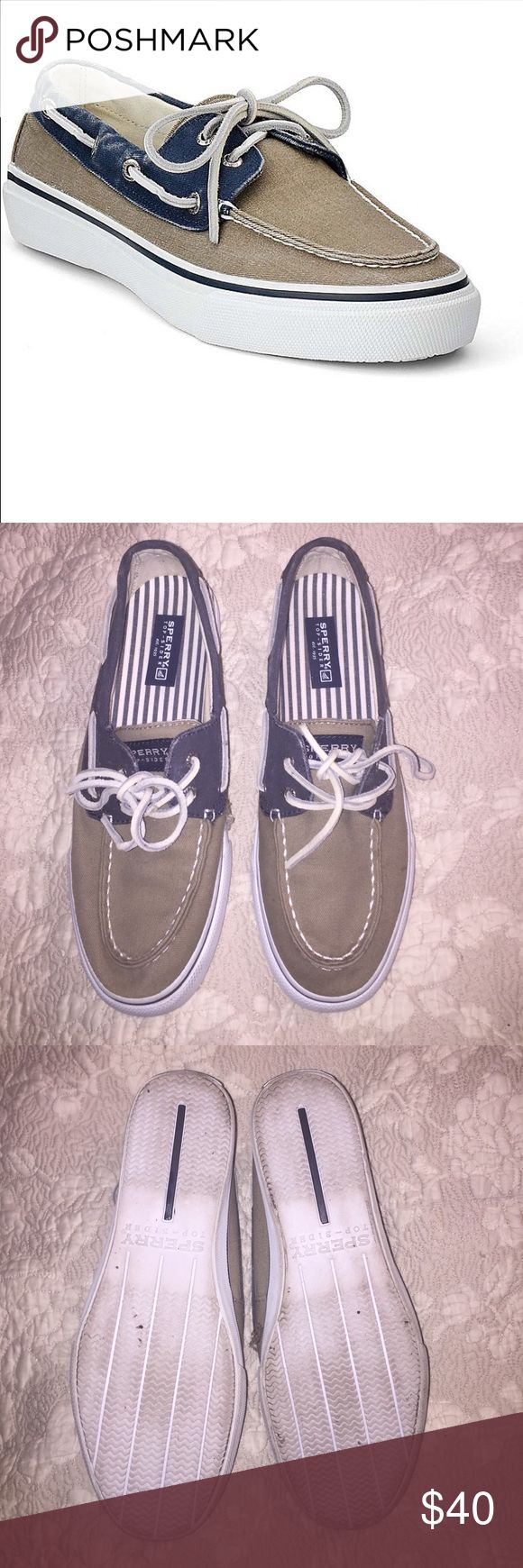 Sperry Top-Sider Men's Sperry Top-sides canvas shoes. Leather ties. Hardly worn. No sign of wear on uppers. Size men's 8. Navy and taupe. Sperry Top-Sider Shoes