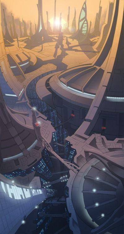 Futuristic City, Future Architecture, Sci-Fi, Cyber City, Futuristic Architecture, Science Fiction, Concept, Sunrise, cyberpunk, innovation by FuturisticNews.com