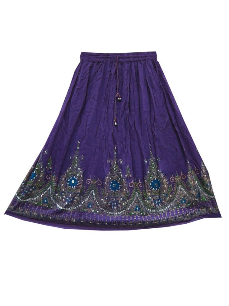 Sequin Hand Work Skirt Purple Floral Design Rayon Mid Skirts 28""