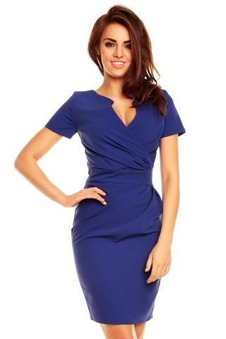 Wrap Around Self Belted Sheath Blue Dress