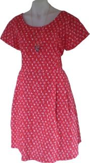 A beautiful crisp cotton in a stunning red with nautical motifs throughout.  Just a couple of these dresses were made so be in quick as there is no more fabric.    Shown here with the Very Nice V Necklace.