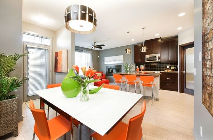 Windsor in Evanston by Broadview Homes. Click here for more #decorating & #decor ideas: http://www.broadviewhomes.com/calgary/photo-gallery #kitchen #orange