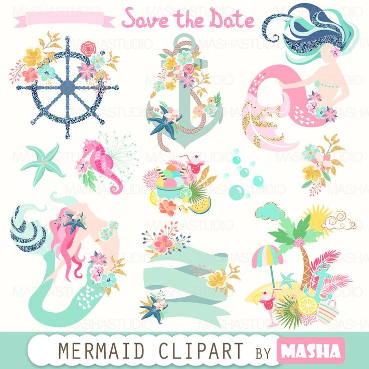 """Summer clipart: """"MERMAID CLIPART"""" with mermaids, navy clipart, nautical clipart, anchor clipart, island, 13 images, 300 dpi. PNG files by MashaStudio on Etsy https://www.etsy.com/listing/385038110/summer-clipart-mermaid-clipart-with"""