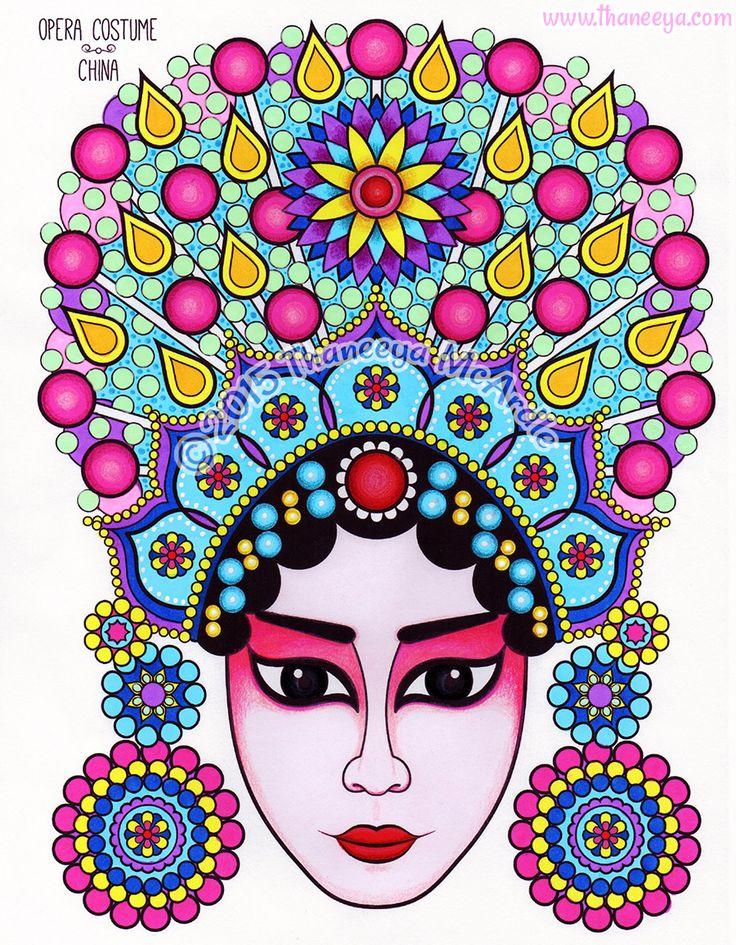 chinese opera costume coloring page from thaneeya mcardles folk art coloring book http
