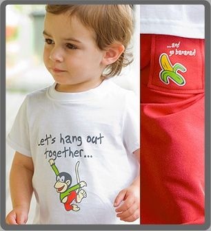 Funky Monkey - Baby & toddlers outfit. 100% cotton, proudly made in New Zealand. http://www.thebabycollection.co.nz/products-page/the-baby-collection/funky-monkey/