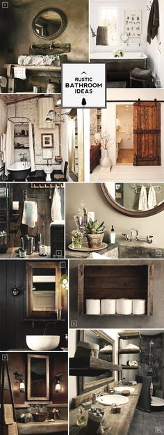 Rustic Bathroom - I like the barn door and the brick walls. Rustic Bathroom Ideas and Decor Tips .