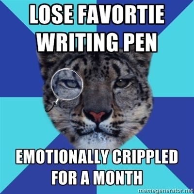 I almost slapped my favorite pen (from the vet's) out of a bank teller's hand a couple weeks ago.