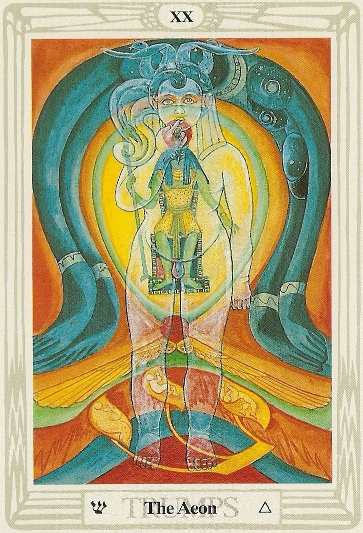 """Aeon ~ Thoth tarot """"Aeon is the symbol for the Rise of Phoenix, it stands for a time of insight, the true understanding of the circle of life, of growing and fading. The card tells us that we should leave our 'frog perspective' and watch the things from a higher level, that the time has come to face the new, that we need a good overview to build our 'Utopia'."""" http://www.corax.com/tarot/cards/index.html?aeon"""
