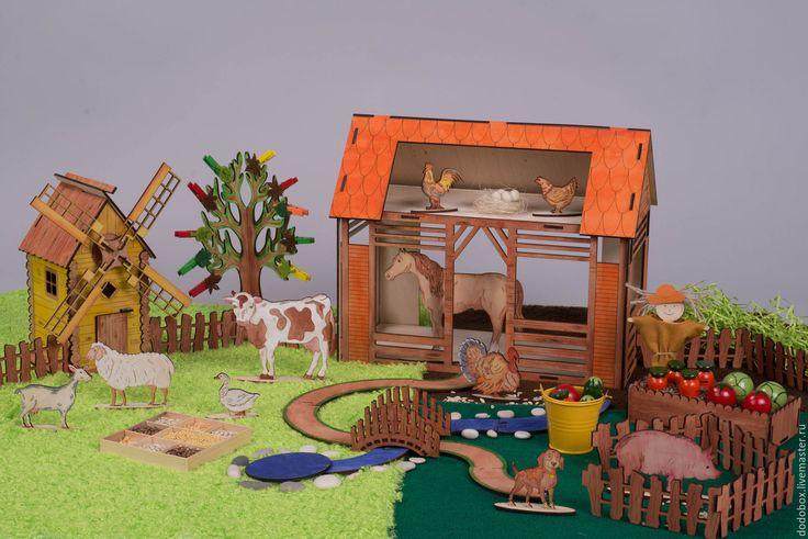 """Купить Тематический набор """"Ферма"""" Сенсорная коробочка - развивающие игры, развивающая игра, сенсорная игрушка"""