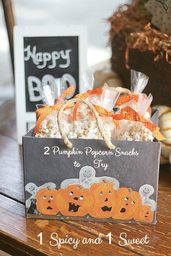 2 Pumpkin Popcorn Snacks ~ 1 Spicy and 1 Sweet