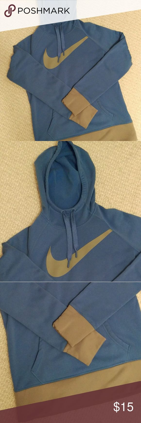 Nike Fleece Hoodie Nike Fleece Hoodie - gently used  Therma-fit fleece lining. Light blue, grey trim. Attached hood with drawstring and kangaroo pocket. Little thumb slits on sleeves to tuck in your hand. Slim fit. Gently used, no stains or damage that I can see. Please ask any questions, priced accordingly. Sold as is. 🎆🎆Bundle this and the other Nike Hoodie for $28! 🎆🎆 Nike Tops Sweatshirts & Hoodies