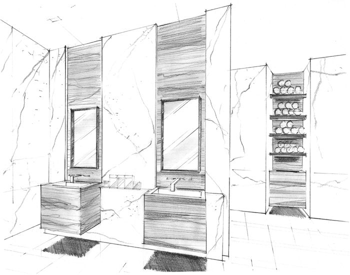 Presentation Techniques Yabu Pushelberg Interior Rendering Architectural Sketches Marker Sketching Sdb