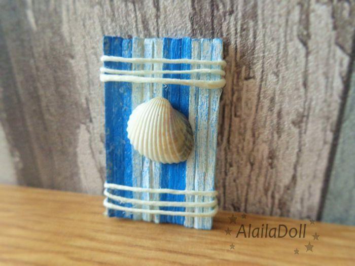 Miniature Dollhouse Seaside Decoration, Alailadoll, home decor, handmade seaside decorations, beach, sea, blue, mini seashell  Size: 4 cm x 2,5 cm (1,6 inch x 1 inch)