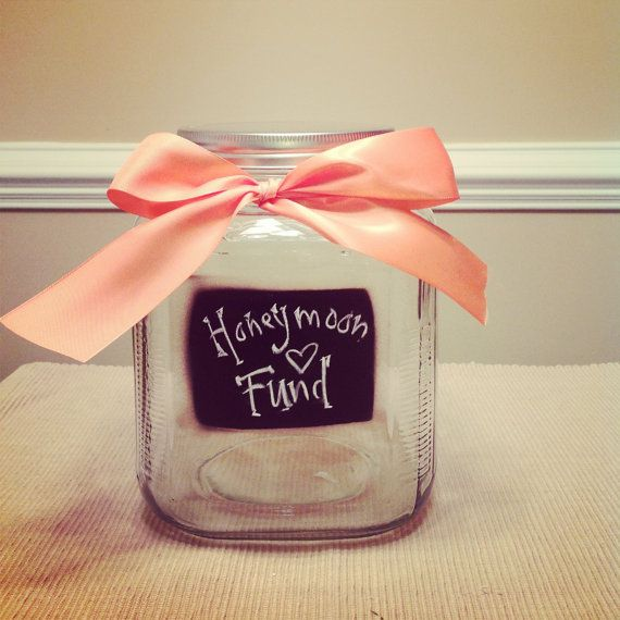 Honeymoon Fund Chalkboard Glass Jar for Wedding by thebeezeknees, $32.00