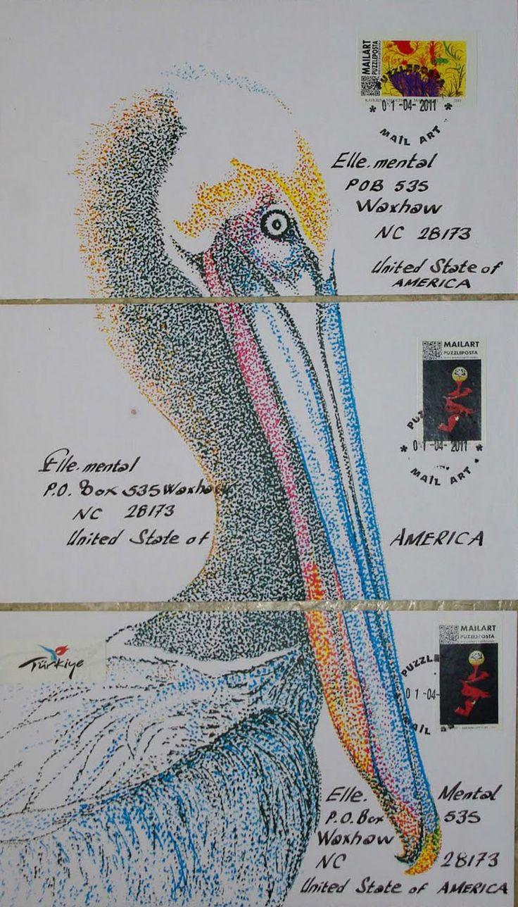 Pelican mail art tryptic by Ahmet Demir in Turkey, Spring 2011