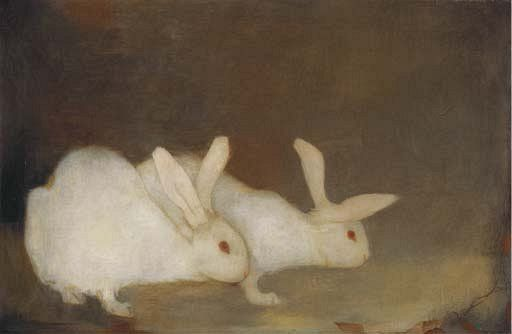 Jan Mankes, Twee konijintes/Two Bunnies, 1909