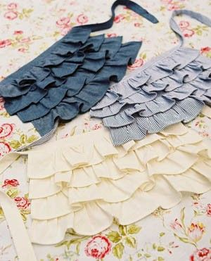 DIY apron...  Here one like this from pier one an it has a towel sewn underneath tht comes in handy for wiping ur hands