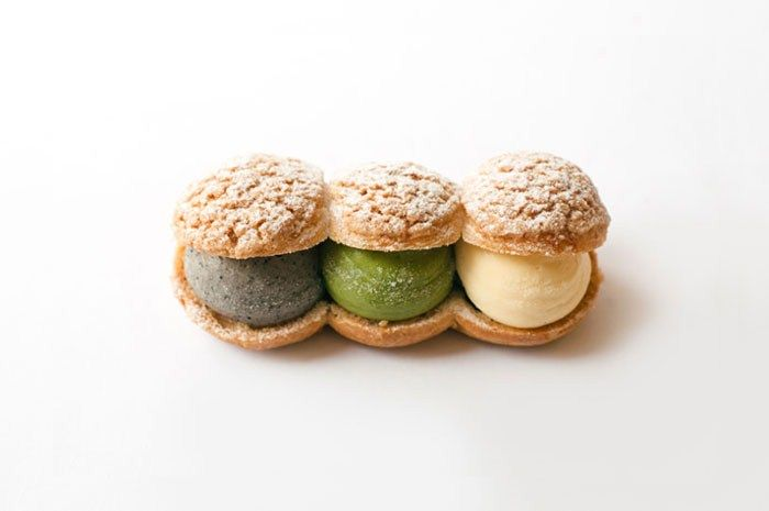 Choux Trio, WA Japanese Patisserie, Ealing, London. With sesame, matcha, and azuki pastry cream.