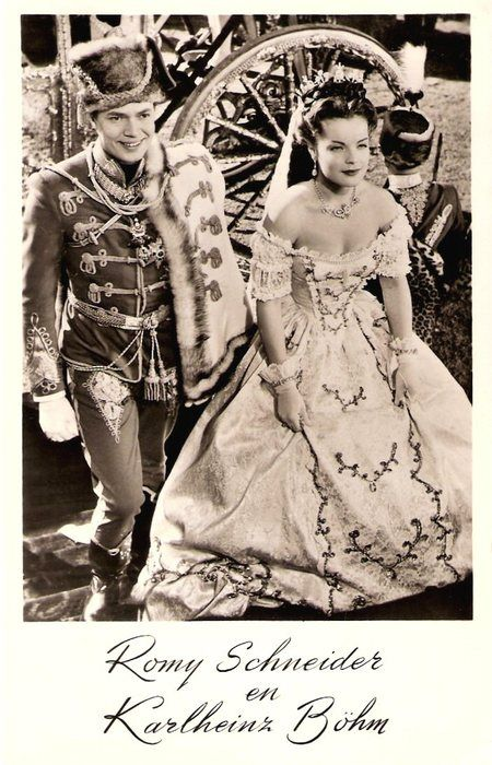 Karlheinz Böhm and Romy Schneider were the perfect  couple of the German film in the 1950's. A dutch postcard of Sissi films.