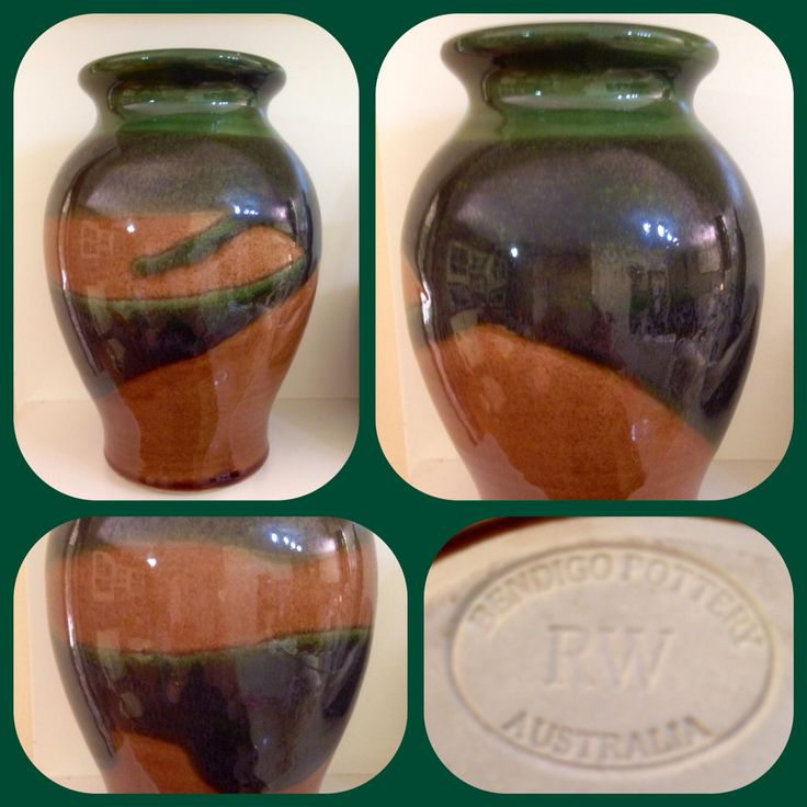 Bendigo Pottery glazed vase with potters mark registered to Richard Walsh who worked between 1994 and 2000, Purchased from Vinnies at 50% off for $6.