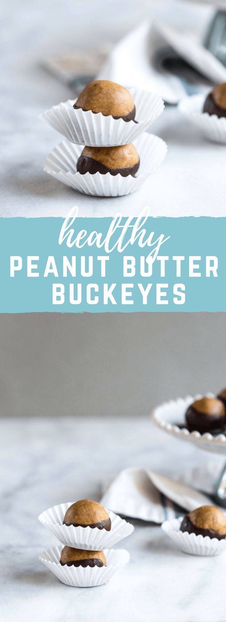 Healthy Peanut Butter Buckeyes my friends. This snack is high in protein and made with peanut butter (duh), peanut butter powder, a touch of maple syrup and dipped in dark chocolate! #peanutbutter #chocolate #buckeyes
