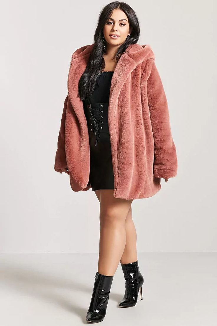 Plus Size Faux Fur Hooded Coat | Forever21