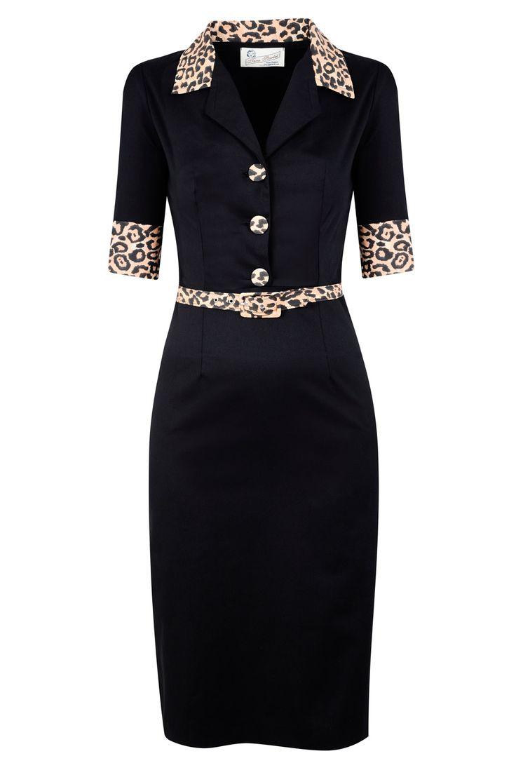 Leopard Print and Black Rockabilly Vixen Dress by Tara Starlet