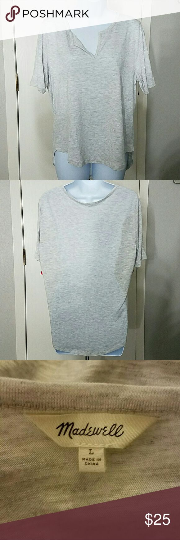 Madewell grey short sleeve top size L Heathered grey color High low detail Soft & comfortable fabric A basic must have item Madewell Tops Tees - Short Sleeve