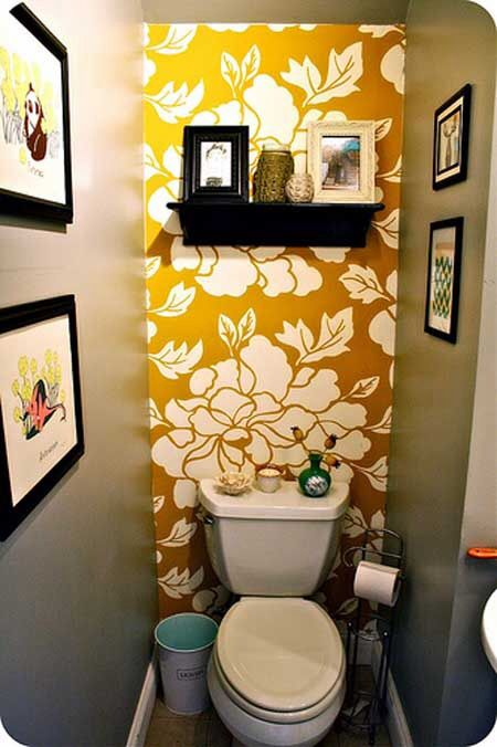 Love the yellow floral wallpaper at the back of this tiny bath. Small bathroom decor (picture only).