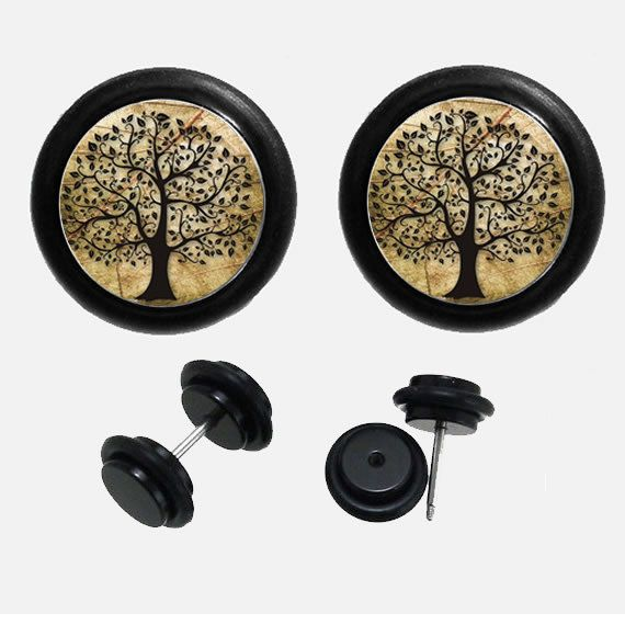 Hey, I found this really awesome Etsy listing at https://www.etsy.com/listing/190119915/tree-of-life-fake-ear-plugs