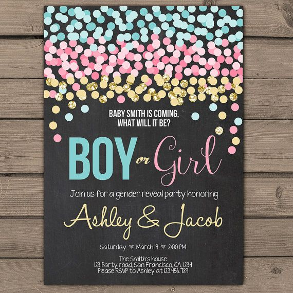 Confetti Gender reveal invitation Gender door Anietillustration