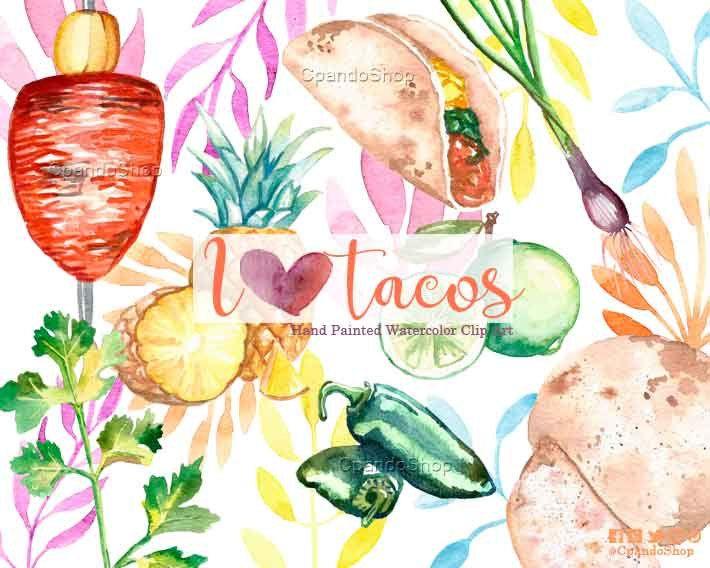 Taco clipart taco clip art mexican food clipart mexican fiesta invitations watercolor cinco de mayo clipart tortilla